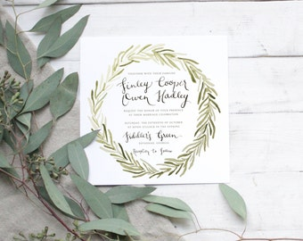 Olive Branch Greenery Wreath Wedding Invitation