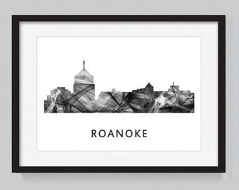 Roanoke, Virginia skyline WB BW