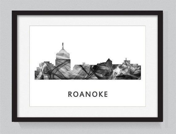 Roanoke virginia skyline wb bw for Custom t shirts roanoke va