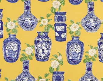 SCALAMANDRE CHINOISERIE La Dame Aux CAMELEAS Toile Fabric 10 Yards Yellow Blue