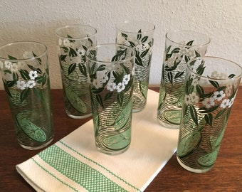 Vintage Tom Collins Iced Tea Glasses Limes and Blossoms