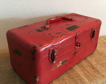 Vintage Tool Box Shabby Red Metal