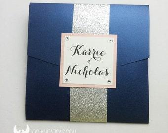 100 sets Pocket Fold Wedding Invitations,Glitter Pocketfold Wedding Invitation,Silver and Navy Pocket Wedding Invitations,With RSVP Card