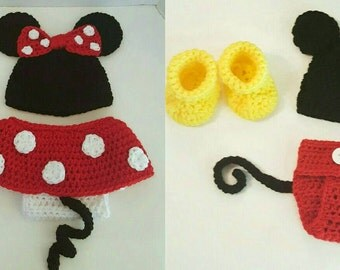 Twins Newborn Crochet baby Mickey and Minnie Mouse set, Photo prop, Halloween costume or Christmas gift