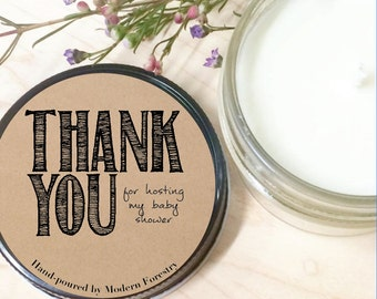 Thank You Gift Soy Candle, Hostess Gift, Baby Shower Gift, Thanks for Hosting, Baby Shower, Custom Candle, Natural Soy Candle, Baby Gift