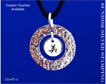 Beautiful Necklace, Sterling Silver, Chinese Symbol Necklace, Beautiful Pendant, Chinese Character Necklace Jewelry Chinese Calligraphy