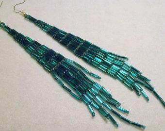 Handmade Beaded Earrings, Long Bugle Beaded Earrings, Teal Blue, Turquoise Blue, Bugle Beaded Earrings, Long Dressy Earrings