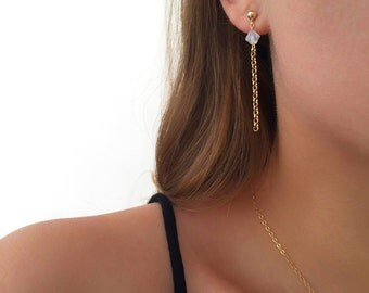 Gold chain earrings, Dainty gold earrings, Swarovski earrings, 14k gold filled earrings, Swarovski jewelry
