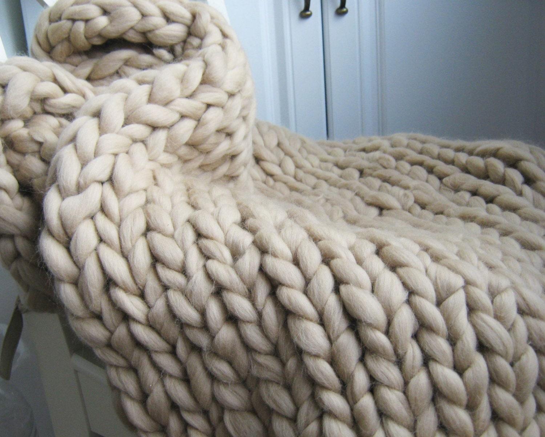 Hand Knitting Merino Wool Blanket : Light beige knit blanket merino wool hand throw