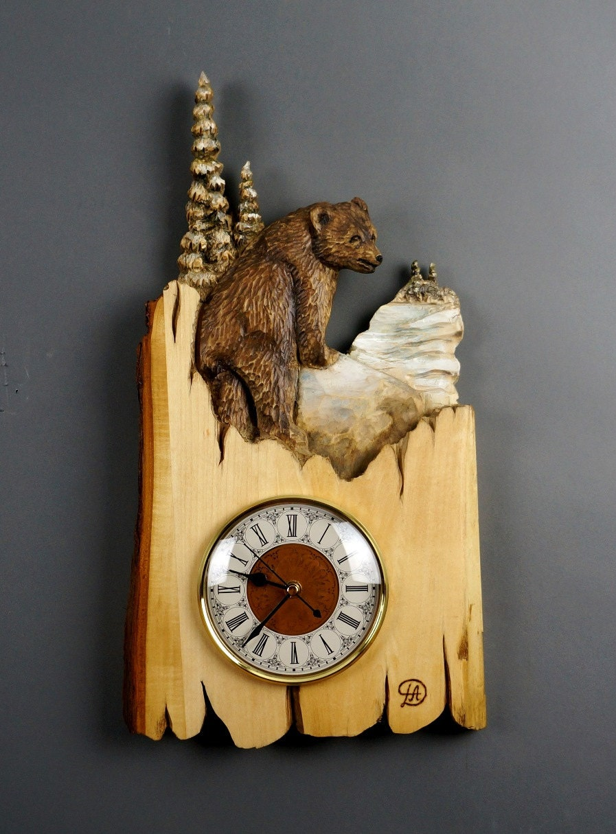 Wall Clock Carved On Wood Wood Carving With Bark Hand Made