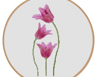 MORE for FREE - Three Tulips - Counted Cross stitch pattern PDF - Instant Download - Cross Stitch Pattern - Flower-Love - Needlepoint #1518