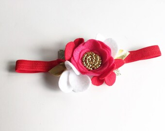 Baby Valentine's Day Headband - Toddler Valentines Day Outfit - Baby Felt Flower Crown - Pink and Red Headband
