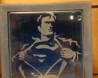superman glass block