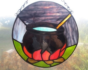 Cauldron Wicca Pagan Witchy Stained Glass Suncatcher