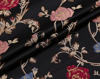 0.5 meter width 57.08 inches brocade fabric,golden thread brocade fabric,jacquard crafts fabric,for dress material,Floral fabric(150-51)