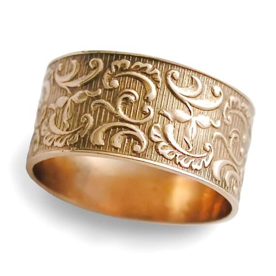 Goldring breit  Goldring ethnische Ehering floral 14 K Rose Gold Ring