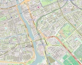 Editable City Map of Amsterdam