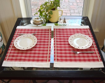 Placemat Red and ivory Plaid