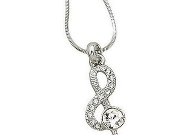 Swarovski Crystal Treble Clef Music Notes Musician Musical Pendant Necklace