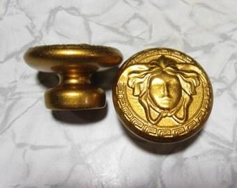 Golden drawer knobs medusa gorgon Greek head in wood furniture decoration handle gold grip