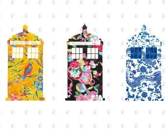 Doctor Who Tardis Watercolor 5x7 Print Set