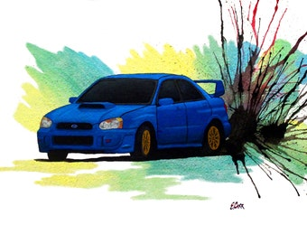 Watercolor Subaru WRX STi Drift Print