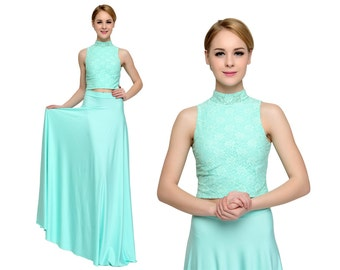 Mint Green Prom dress, Long Prom Dresses, Two Pieces prom dress, Lace crop top long skirt