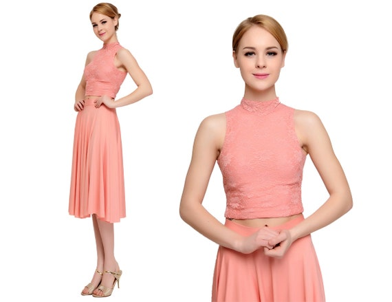 short bridesmaid dresses lace prom dresses in light coral