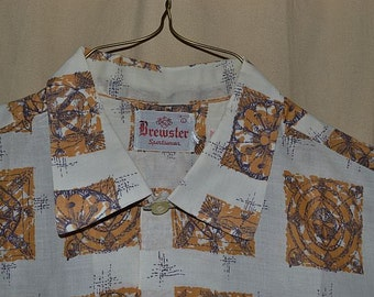 Vintage 50s 60s Mens Retro Space age Atomic Short Sleeve Mens Shirt Large Brewster