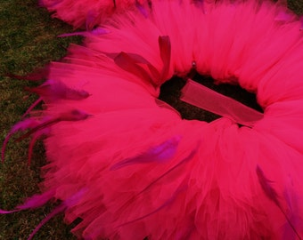 Adult Feather Tutu - Hen Party Tutu - Puffy Adult Tutu with Feathers - Huge Bright Feathered Tutu Skirt