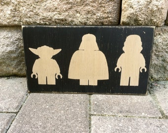 Lego Star Wars, Yoda, Darth Vader, Storm Trooper, Wood Sign, Hand Painted