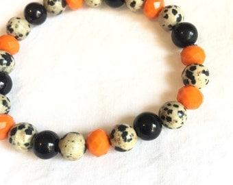 Orange and Black Speckled Bracelet