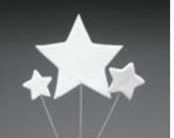 White Star Spray Pre-Made Ready To Use Cake / Cupcake Gum Paste Decorations