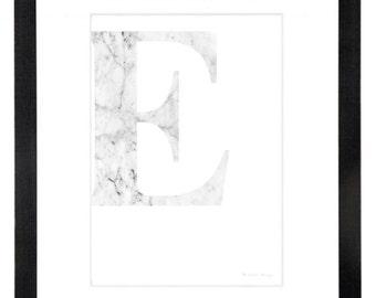 White Marble Letter Print