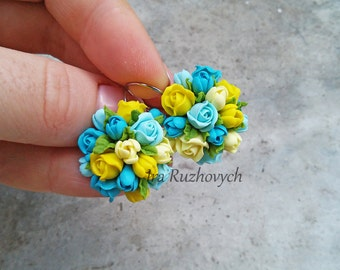 Blue yellow earrings, Polymer Clay Jewelry, Handmade Flowers