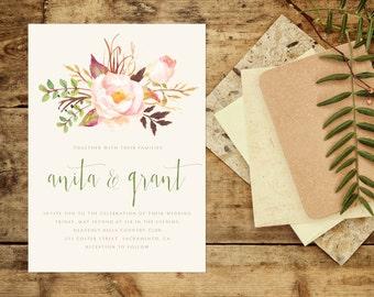 Sage and Sandalwood Wedding Invitation, Floral Wedding Invitation, Cream and Sage Invitation