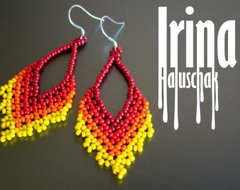 Beaded earrings. Gradation from dark red to yellow. Native style. Chevron