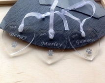 X3, Christmas tree decorations, clear personalised hearts, hanging acrylic hearts, pet memorial hearts, named decorations, xmas baubel