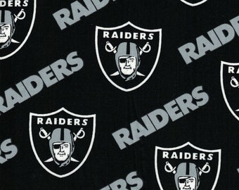 Oakland Raiders Fabric- NFL - 100% Cotton High Quality Fabric- by Fabric Traditions