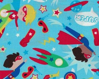 Light Blue Superhero Fabric- 100% Cotton Designer Fabric-Timeless Treasures