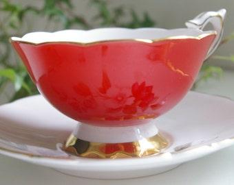 Vintage Royal Stafford Red Teacup & Saucer 1950's