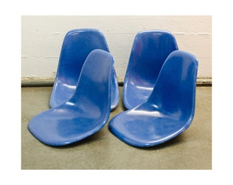 2 Herman Miller Eames Fiberglass Shell Side Chairs Royal Blue