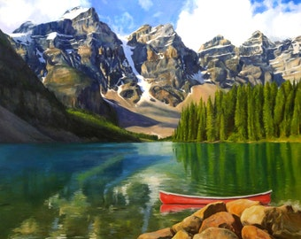 EXAMPLE ONLY. Landscape, Lake Moraine, Oil Painting, 36x48