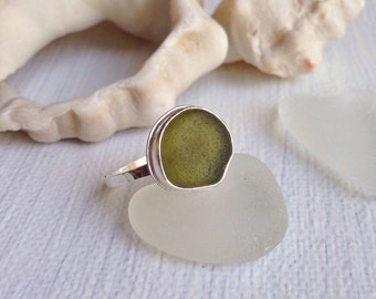 Sea Glass Ring - Olive Green Genuine Sea Glass on Handmade Textured Sterling Silver Ring