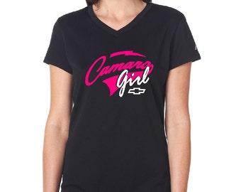 Chevy Camaro Girl Women's V-neck Shirt