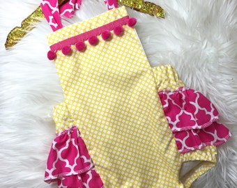 Baby Girl Romper, lemonade romper and head wrap set, pink and yellow romper, girls lemonade stand outfit, pink romper