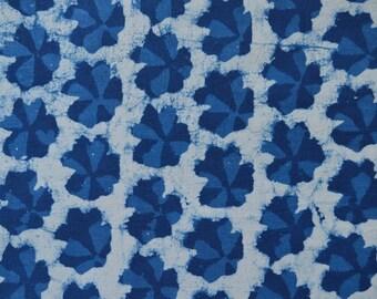 Indigo fabric, Cotton Fabric, Printed Cotton, Hand Block Print Fabric, Cotton Fabric by the yard, Indian Fabric, Block Printed Fabric