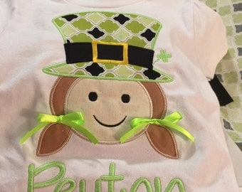 St. Patrick's Day Leprechaun Applique Kid Girl and Boy Personalized Monogrammed Embroidered Tees