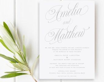 Wedding Invitation, Pink Wedding Invitation, Pink and Gray Wedding Invitations, Wedding Invites, Modern Calligraphy, Printable, PDF, Printed