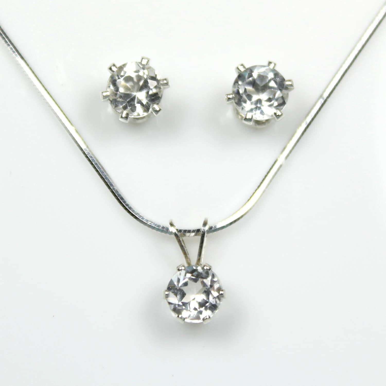 white topaz earrings necklace set 925 silver earrings by